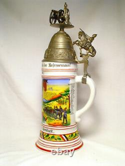 Old Antique Vintage Regimental German Artillery Beer Stein Military Pre-WWI