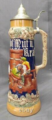 Old Vintage Gertz German Lidded Beer Stein 2 Liter