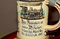 Orig. Antique Eisenbahn Regimental German Military Beer Stein, Berlin, Dtd. 1902