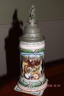 Orig. Antique Garde Ulan German Cavalry Regimental Military Beer Stein, Dtd 1909