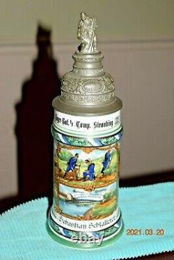 Orig. Antique Jager Regimental Military Porcelain German Beer Stein, Dtd 1904