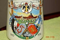 Orig. Antique Munich Telegraph Batln Regimental Military German Beer Stein, 1914