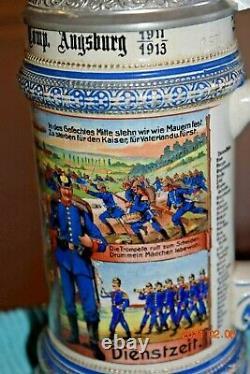 Orig. Antique Prism Lid Regimental Military German Beer Stein, Viewable Stanhope