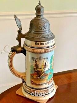 Original Antique German Navy Regimental Military Beer Stein, SMS Pfeil, Dtd 1909