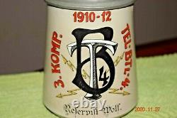 Original Antique Telegraph Battalion Regimental Military German Beer Stein, 1912