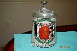 Original Antique Telegraph Regimental German Military Beer Stein, Dated 1911
