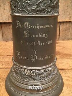 Ornate Antique 1901 Large German Hunting Commemorative Pewter Beer Lidded Stein