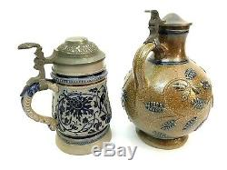 Pair German Stoneware Beer Steins Gerz 585 Scrollwork & Ovoid Bearded Man Gift