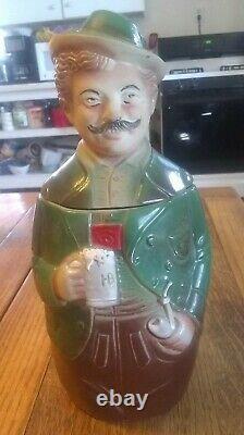 Pair of Antique German Character Lidded Beer Steins