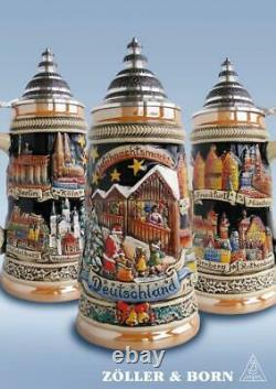 Panoramic Christmas Market German Beer Stein. 75L ONE Mug Made in Germany New