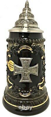 Pewter Iron Cross Military Decoration German Beer Stein. 25 L Made in Germany