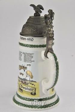 Pewter Lidded Beer Stein German WWI Regimental Lithopane Luftrchiffer A453