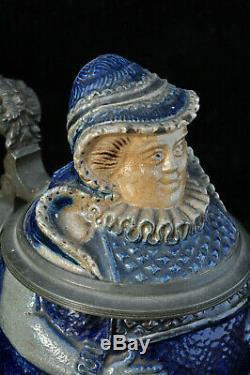 Pichet couvert bière grès Antique Westerwald German figural beer stein pot