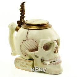 Porcelain SKULL STEIN TOTENKOPF BIERKRUG, STUDENTIKA BIERHUMPEN, GERMAN BEER MUG