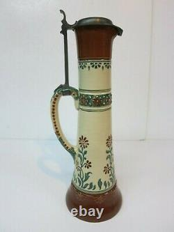 Pottery German Beer Stein Art Nouveau Floral Very Tall (Mettlach Era) 100 Yr Old