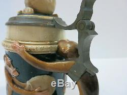 Pottery German Beer Stein Darwin Monkey Skull 1257 (Mettlach Era) 100 Year Old