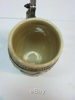 Pottery German Beer Stein Dwarf Figural Lid H. Schlitt 974 (Mettlach Era) 100 Yr