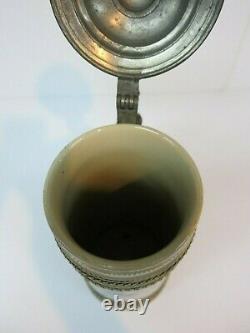 Pottery German Beer Stein Schutzenlisl Barmaid Braulisl Maiden (Mettlach Era)