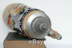Pre-world War Ii, 2 Liter Vintage German Ceramic Beer Stein /w LID 17 Inches