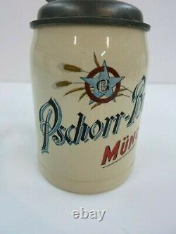 Pschorr Bräu München Brewery German Beer Stein (Mettlach Era) 100 Year Old