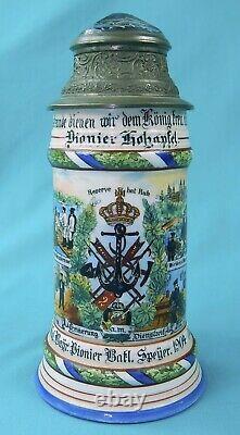 RARE Antique German WW1 1904 Navy Pionier Battalion Litho Prizm Beer Stein Mug