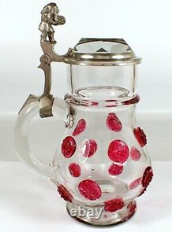 RARE Antique Theresienthal German Crystal Pewter Beer Stein Applied Pink Glass
