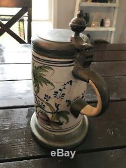 Rare Antique 1700s German Beer Stein Pewter Lid & Pewter Base Japan scene