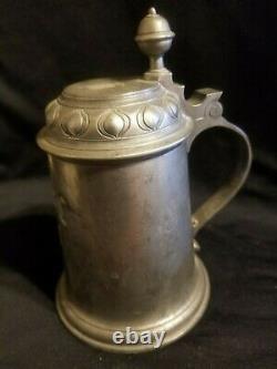 Rare Antique 1800s ZINN German Pewter Beer Flagon Tankard Stein Bar Pub Mug