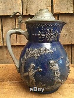 Rare Antique Ceramic German Lidded Beer Stein Pitcher GESCH Germany Golf Graphic