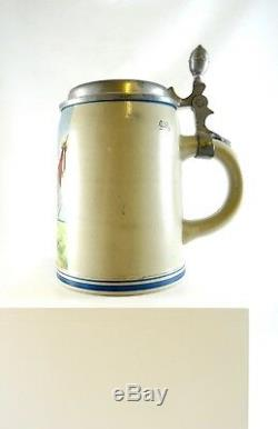 Rare Antique German Art Nouveau Beer Stein Mug About 1900 Litho Athlete Sports
