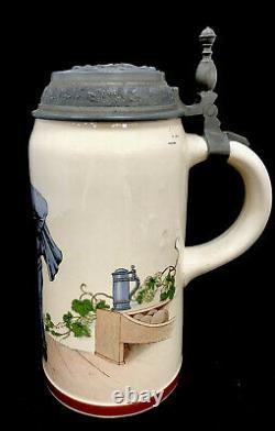 Rare Antique Mettlach German Beer Stein 1526/1212 Bowler 1 Liter Villeroy & Boch