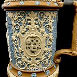 Rare Antique Mettlach German Beer Stein Singers 1/2 Liter 202 Villeroy Boch #202