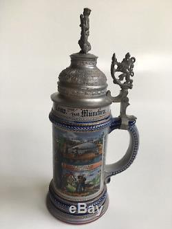 Rare German Beer Stein Mug Reservistenkrug Pionier Bataillon regimental Munich