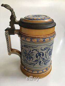 Rare German Mettlach Beer Stein #1452 Villeroy Boch