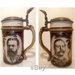 Rare German Reich Mettlach Etched 16 Oz German Beer Stein Drinking Mug Tankard