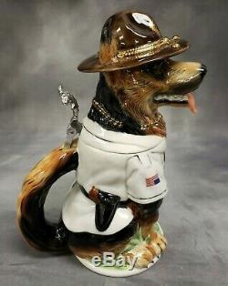 Rare King Werks GERMAN SHEPHERD 3D Dog Limited Ed BEER STEIN 1L Made in Germany