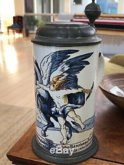 Rare Mettlach 5024 5394 Ceramic Faience German Beer Stein Mercury & Pegasus