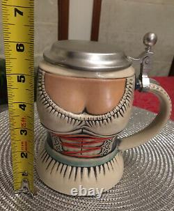 - Rare, Numbered, GERZ German Pewter Lidded Sexy Lady Beer Stein In VGC