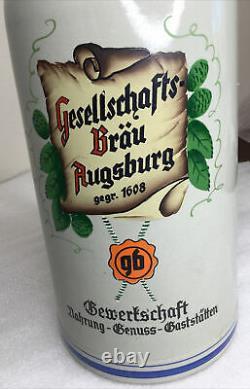 Rare Vintage 3 Liter Geselleschafts Brau Augsburg Beer Stein German Labor Union