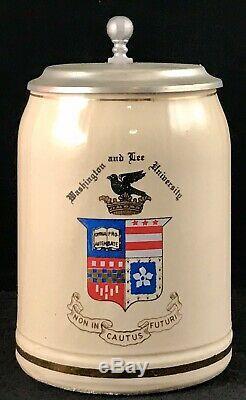 Rare Vintage Washington And Lee University German Beer Stein. 5l Kamp Ferdinand