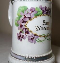 Rare antique German general porcelain lithophane litho pewter lidded beer stein