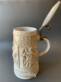 Regensburg Antique German Beer Stein with Pewter Lidded Mug ca. Late 1880