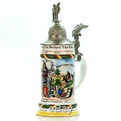 Regimental Lithophane Beer Stein 1902 04 Antique German Lidded Military WWI