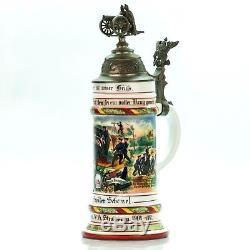 Regimental Lithophane Beer Stein 1905-07 Antique German Porcelain Military WWI