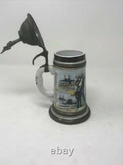 Regimental Lithophane Beer Stein 1907- Antique German Lidded Military Soldier