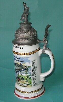 Regimental Lithophane Beer Stein 190 06 Antique German Lidded Military WWI