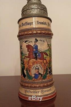 Regimental Lithophane Beer Stein Mug 1904-07 Antique German Kaiser Wilhelm II