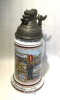 Regimental Military German Beer Stein, Lithopane & Train Pewter Lid. 1835