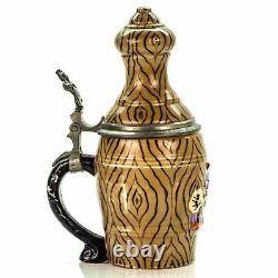 Reinhold Hanke 1134 Antique Character German Lidded Mug Beer Stein Bowling Pin