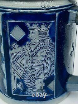 Reinhold Hanke 1427 Antique German Beer Stein Playing Card 7 Gift Gambling Gift